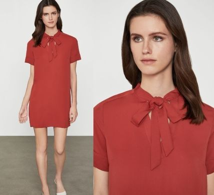Short Casual Style A-line Plain Short Sleeves Dresses