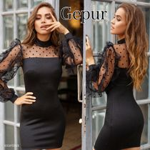 Gepur Short Dots Tight Long Sleeves Plain Party Style High-Neck