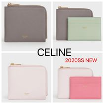 CELINE Calfskin Plain Small Wallet Logo Coin Cases