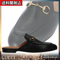 GUCCI Princetown Round Toe Unisex Plain Leather Slippers Sandals Sandal