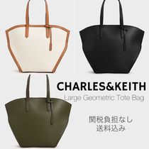 Charles&Keith Casual Style Canvas Faux Fur A4 Plain Office Style