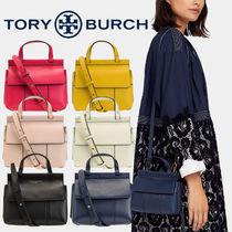 Tory Burch Casual Style Unisex Plain Leather Party Style Office Style