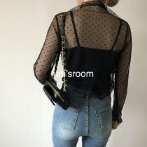 Short Dots Casual Style Long Sleeves Medium Party Style Lace