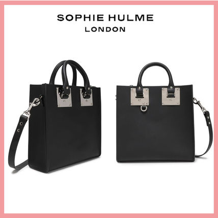 Casual Style 2WAY Plain Leather Office Style Logo Totes
