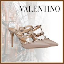 VALENTINO Casual Style Studded Leather Pin Heels Party Style