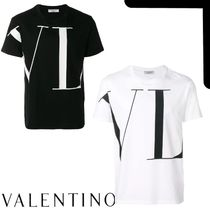 VALENTINO VLTN Crew Neck Plain Cotton Short Sleeves Logo Luxury