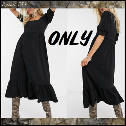 Casual Style Maxi Plain Cotton Long Puff Sleeves Dresses