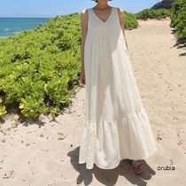 Casual Style Maxi A-line Linen Blended Fabrics Sleeveless