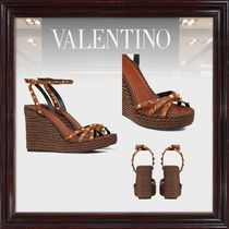 VALENTINO Casual Style Leather Logo Platform & Wedge Sandals