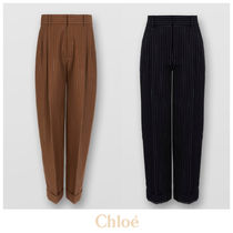 Chloe Stripes Casual Style Wool Long Office Style Culottes