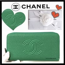 CHANEL ICON Unisex Lambskin Plain Long Wallet  Long Wallets