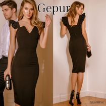Gepur Tight V-Neck Plain Medium Party Style Dresses