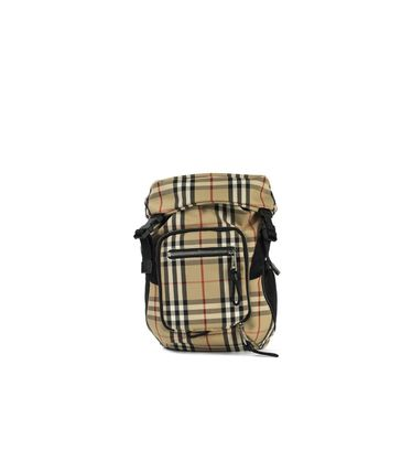 Other Check Patterns Unisex Street Style Logo Backpacks