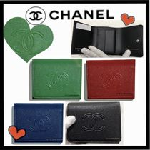 CHANEL ICON Unisex Lambskin Plain Small Wallet Folding Wallets