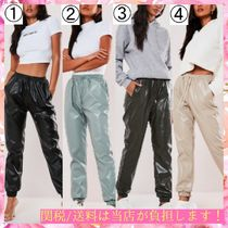 Missguided Casual Style Faux Fur Plain Leather & Faux Leather Pants
