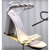 VALENTINO VLOGO Open Toe Casual Style Leather Block Heels Party Style