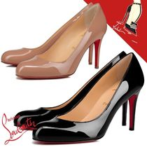 Christian Louboutin Round Toe Casual Style Plain Leather Pin Heels Party Style