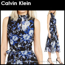 Calvin Klein Flower Patterns Maxi Sleeveless Long Party Style