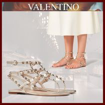 VALENTINO Open Toe Platform Lace-up Casual Style Studded Leather