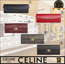 CELINE Triomphe Calfskin Plain Party Style Elegant Style Formal Style