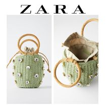 ZARA 2WAY Plain With Jewels Straw Bags