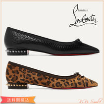 Christian Louboutin Leopard Patterns Suede Studded Plain Leather