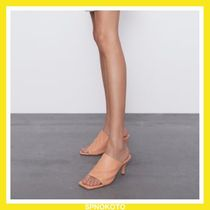 ZARA Square Toe Leather Heeled Sandals