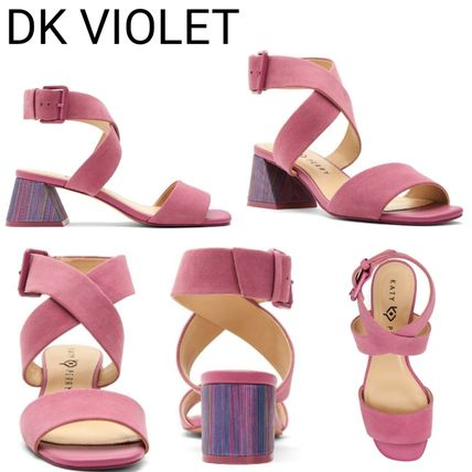 Open Toe Casual Style Plain Block Heels Party Style Sandals