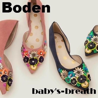 Flower Patterns Leather Flats