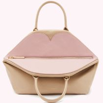 Lulu Guinness Casual Style 2WAY Plain Leather Office Style Elegant Style