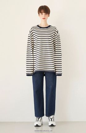 Stripes Unisex Street Style Long Sleeves Cotton Oversized
