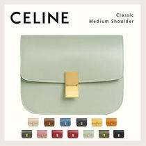 CELINE Classic Casual Style Calfskin Lambskin Blended Fabrics 2WAY Leather