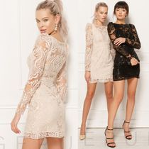 Gepur Crew Neck Short Tight V-Neck Long Sleeves Plain Lace Dresses