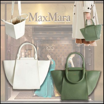 Casual Style 2WAY Plain Leather Office Style Handbags