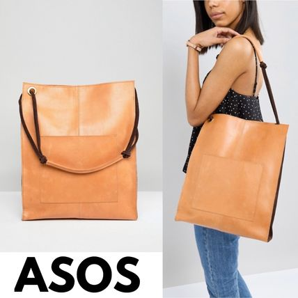 Casual Style Unisex A4 Plain Leather Office Style Totes