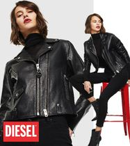 DIESEL Street Style Plain Leather Biker Jackets