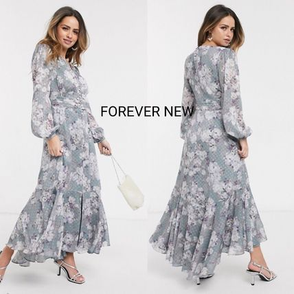 Flower Patterns V-Neck Long Sleeves Long Party Style