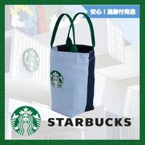STARBUCKS Denim Plain Logo Totes