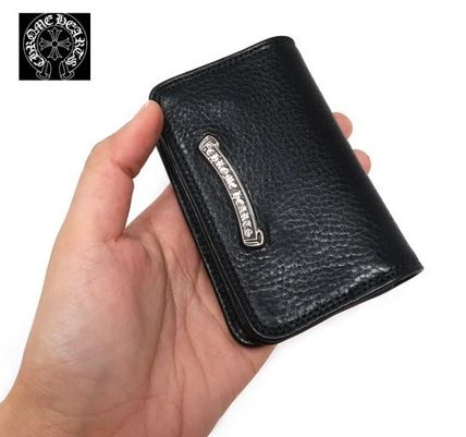 Unisex Plain Leather Folding Wallet Card Holders