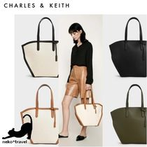 Charles&Keith Casual Style Canvas Faux Fur A4 Office Style Totes
