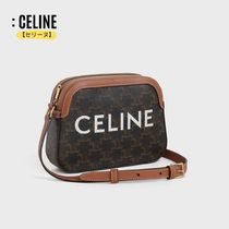 CELINE Triomphe Canvas Unisex Calfskin Canvas Bag in Bag Leather Small Shoulder Bag