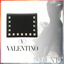 VALENTINO Calfskin Studded Folding Wallet Logo Folding Wallets