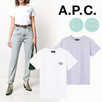 A.P.C. Crew Neck Plain Cotton Short Sleeves Logo T-Shirts