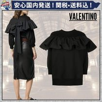 VALENTINO Crew Neck Short Long Sleeves Plain Cotton Oversized Cropped