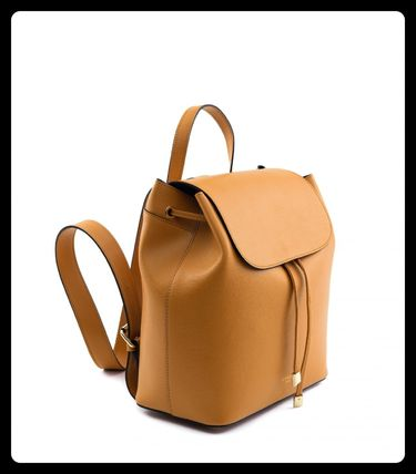 Casual Style Plain Leather Elegant Style Backpacks