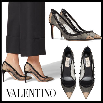 VALENTINO Pointed Toe Dots Studded Pin Heels Party Style Office Style