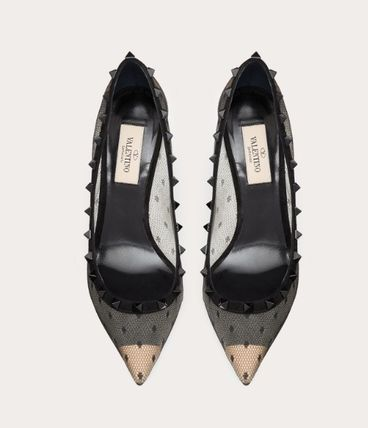 VALENTINO Pointed Toe Dots Studded Pin Heels Party Style Office Style 5
