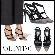 VALENTINO Dots Casual Style Studded Leather Pin Heels Party Style