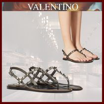 VALENTINO Open Toe Platform Casual Style Studded Leather Flip Flops