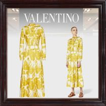 VALENTINO Casual Style Silk Long Sleeves Long Office Style